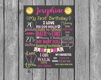 Sunshine Birthday Chalkboard Digital File - You Are My Sunshine - Our Little Sunshine - Girl Birthday - Printable Digital File
