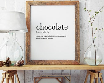 Chocolate Definition Print | Wall Art Print | Wall Decor | Minimal Print | Food Print | Modern Print | Type Poster | INSTANT DOWNLOAD
