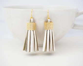 White and Gold Chunky Leather Tassel Statement Earrings