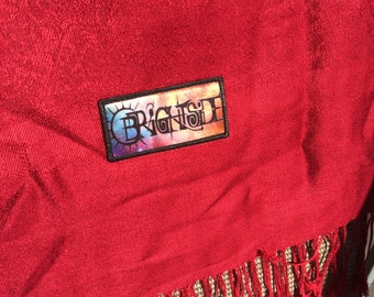 OOAK Hand Embroidered Brightside Scarf Pashmina Red with Fringes