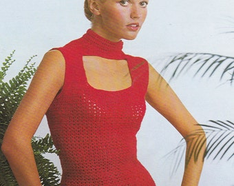 Vintage crochet pattern blouse top pdf INSTANT download pattern only pdf sleeveless