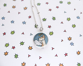Cute Cat Necklace, Kitty Pendant, Ginger Cat Jewelry, Angel Kitty, Pet Memorial, Kawaii Fashion, Fun Accessories, Cat Lover Gift