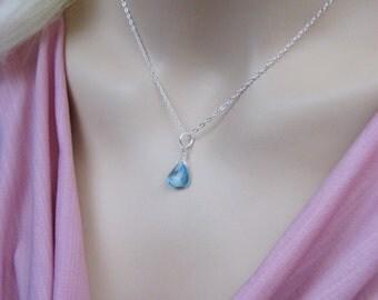 Swiss Topaz Briolette Necklace, Layering Necklace, Blue Topaz Pendant, Swiss Blue Topaz Gemstone, Sterling Silver, December Birthstone