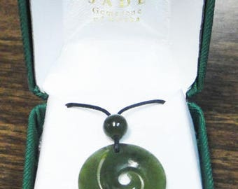 Jade Circle Spiral Necklace