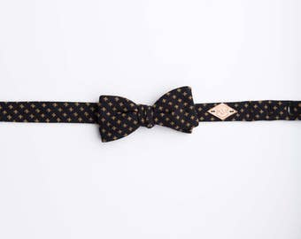 Navy and Gold Check Bow Tie, Bow Tie, Polka Dot Bow Tie, Chambray bow tie, Woven Cotton Bow tie, Cotton check Bow Tie, Woven bow Tie