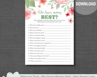 Watercolor Floral Who Knows Mommy Best Baby Shower Game Printable, Flowers, Girl, Pink and Green, 002A