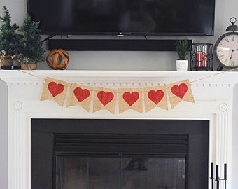Valentine's Day decor- Heart Banner- Bunting- Wedding- Valentines Banner- Wedding Decor- Photo Prop- Valentines Day Garland- Glitter Hearts
