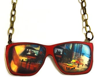 Times Square, New York City Through Sunglasses, Trendy Statement Necklace, The NYC Taxi, Yellow Cab, Broadway Cool Urban Jewelry, Glasses