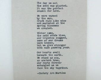 Anniversary Gifts for Men - Romantic Love Poem Hand Typed by Poet - Gift for Husband or Wife