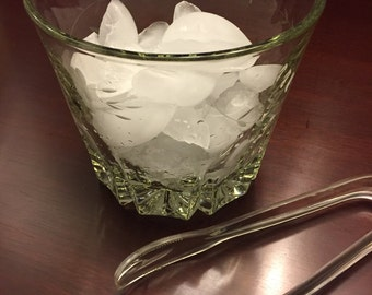 Crystal Ice Bucket by Princess House Heritage  Romance  Original Ice tongs etched flowers