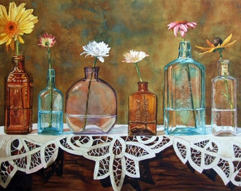 Flowers, vintage bottles and lace watercolor still life painting prints