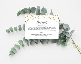 Printable Info Card - Info Card Template - DIY Wedding Template - Rustic Info Card - Instant Download - Confetti Collection
