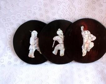 Set of 3 Japanese Black Lacquerware Coasters with Mother Of Pearl,  Japanese Coasters, Mother of Pearl Coasters