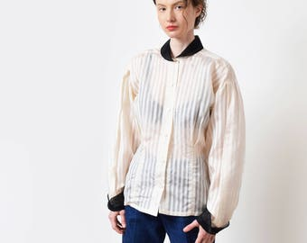 Semi-Sheer Pinstripe Ivory Silk Blouse Vintage Sheer Silk Shirt Romantic XS S