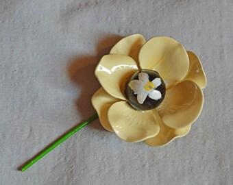 Vintage Brooch - 1960s Yellow Flower with Stem, Enamel over Metal