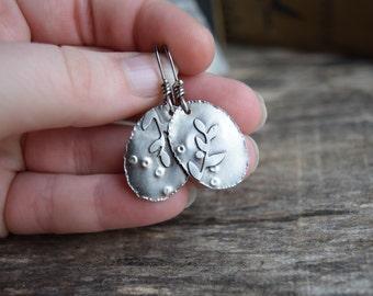 Silver Dangle Earrings Fern Earrings Dangle Leaf Earrings Sterling Silver Fern Earrings Gypsy Earrings