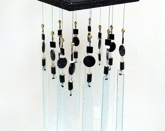 Stained Glass Windchime - Art Deco - Black & Silver - Art Deco Suncatcher - Porch decor, BK1005