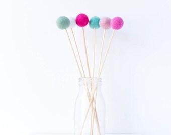 Wool Felt Ball Flowers. Pom Pom Flowers Posy. Wool Craspedia. Billy Buttons Balls. Home Decor. Felt Ball Posies. Mint Pink Aqua