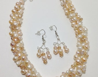 Light Peach Cultured Freshwater Pearls, Faceted Glass Rondelles, Non-Tarnish Silver Plated Wire, Wire Crochet, Necklace, Earrings