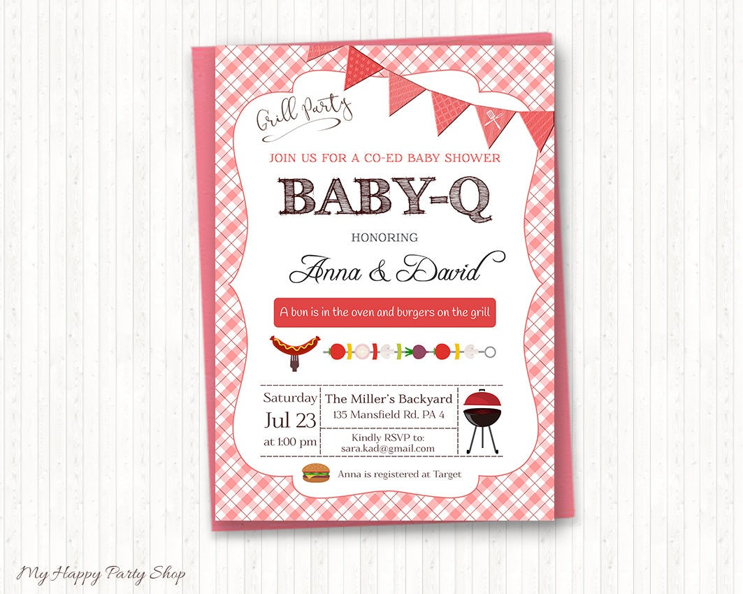 bbq baby shower invitation pink barbeque baby shower