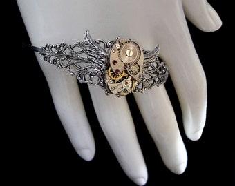 Steampunk Bracelet with Small Wings - Mechanical - Watch Movement - Silver Clockwork - Victorian Retrofuturism Jewellery