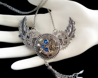 Steampunk Necklace - Capri Blue - Silver - Feathers - Wings - Clockwork - Time Machine - Watch Movement - Watchwork - Victorian Jewellery