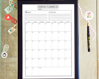 Monthly Planner Printable PDF A4 Black And White Month Organizer Monthly Calendar Agenda To Do List Vertical Planner. Instant Download