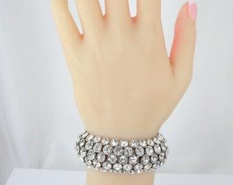 Bridal Bracelet, Stretch Bracelet, Five Row Rhinestone Bracelet, Wedding Bracelet, Rhinestone Bracelet, Brides Bracelet
