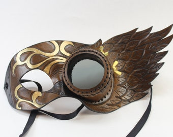 Steampunk mask - monocle and wing design. Brown and Gold - Masquerade mask - Mardi Gras - Venetian Mask