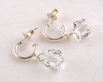 Sterling Silver Crystal Cube 3/4 Hoop Earrings