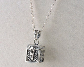 Sterling Silver Ashes/Pill Box Pendant Necklace 30""