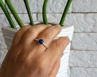 Azurite Ring, Sterling Azurite Ring, Sterling blue stack ring, Blue stack Ring, Thin Stack Ring, Azurite jewelry, Gemstone ring, Birthstone