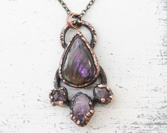 Purple Electroformed Labradorite & Raw Rough Amethyst Crystal Boho Hippy Gypsy Necklace/Pendant Copper