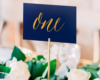 Asterism Gold Foil Table Numbers - Navy Paper - Two Sided - Wedding Table Numbers with Gold / Silver / Rose Gold Foil by Pineapple