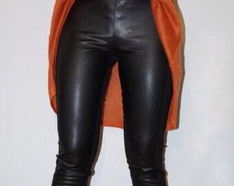 Black Long Leggings/Leggings with Viscose Elastic Black/Leggings with leather Front/Elastic Leggings/Strech Pants/Sport Leggings/F1367