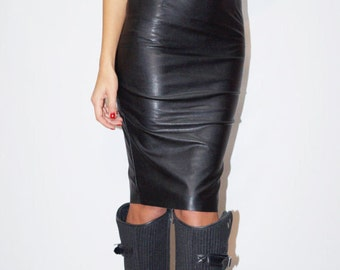 Cheap black leather dress