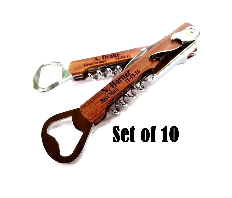 groomsmen gift corkscrew set of 10 engraved bottle openers. Black Bedroom Furniture Sets. Home Design Ideas