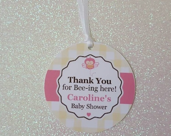 Thank You for Bee-ing Here Baby Shower Favor Tags *Bumble Bee Baby Shower Favor Tag *Pink Bumble Bee Baby Shower *Mommy-to-Bee *PERSONALIZED