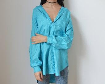 BLUE SHIRT -pastel, elegant, shiny, 90s, 80s, long sleeve, club kid, avant garde, hipster, indie, boho, aesthetic, women, men, sky, baby-