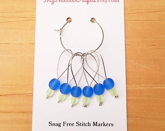 Stitch Markers, Snag Free Beaded Knitting Stitch Markers - Set of 6 Round Matte Periwinkle Glass Beads