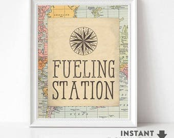 Fueling Station Sign Travel Compass Around the World Party Sign Baby Shower Decorations Printable (INSTANT DOWNLOAD) No.1269BABY