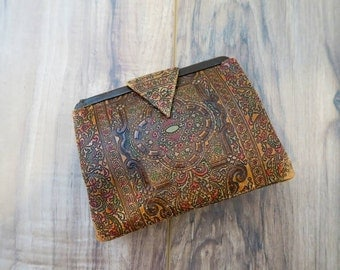 Rare 20s 30s Art Deco Tooled Dyed Leather Clutch with Back Strap