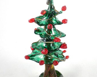 Glass Christmas Tree- hand sculpted, holiday winter wonderland, natural, organic, funky, whimsical, sculpture, great one of a kind gift