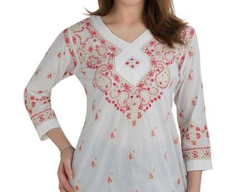 Indian chinkankari Ladies Women tunic Hand craft / Hand embroidered tunic kameez / Kurtis/Top/Blouse/ beach cover boho  multiple size