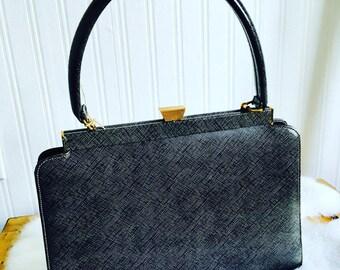 Vintage Top Handle Handbag//1960s Grey Clutch Purse