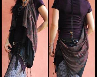 NomadWorld's Magic stole, arrangement,vest,shawl,scarf,neckwarmer, Leather point,bohemian,bellydance,gypsy,NomadWorld