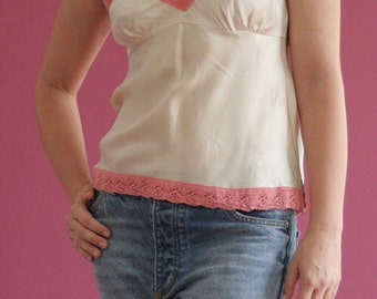 silk camisole with pink cotton lace