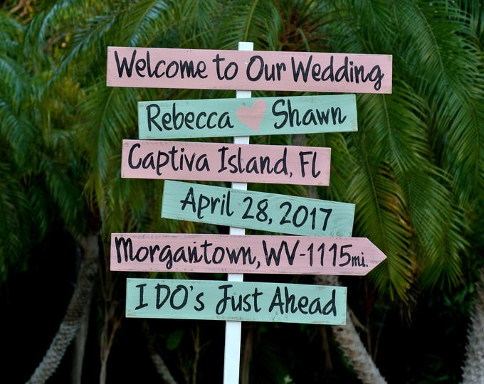 Welcome wedding directional sign. I Do's Rustic beach wedding decor. Gift for couple idea.