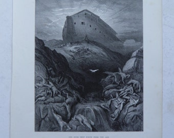 Noah's Ark by Gustave Dore Antique Print C. 1870 Old Testament Bible (14)
