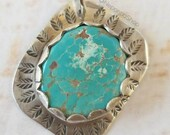 Sterling Silver Turquoise Necklace, Leaves, Southwestern Boho, Nature, Gifts Under 50, Western Cowgirl, Gemstone Jewelry, Healing Stones